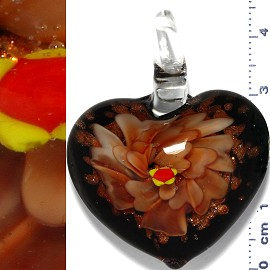 Glass Pendant Flower Heart Black Gold Orange PD1106