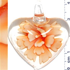 Glass Pendant Flower Heart Clear Light Orange PD1108