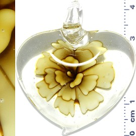 Glass Pendant Flower Heart Clear Dark Yellow PD1109