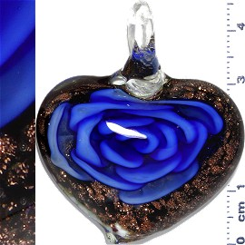 Glass Pendant Flower Heart Black Gold Blue PD1110