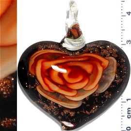 Glass Pendant Flower Heart Black Gold Orange PD1112