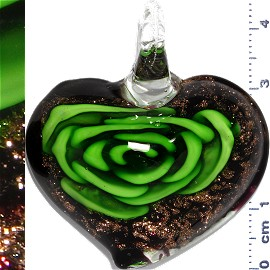 Glass Pendant Flower Heart Black Gold Green PD1115