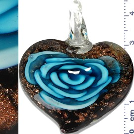 Glass Pendant Flower Heart Black Gold Turquoise PD1116