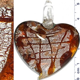 Glass Pendant Heart Lines Silver Brown PD1118