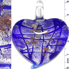 Glass Pendant Heart Lines Silver Blue PD1119