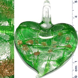 Glass Pendant Heart Lines Silver Green PD1121