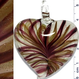 Glass Pendant Heart Lines Clear Gold Purple PD1123