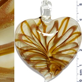 Glass Pendant Heart Lines Clear Gold PD1127