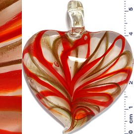 Glass Pendant Heart Lines Clear Gold Red PD1128