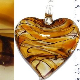 Glass Pendant Heart Clear Dark Yellow Gold PD1132