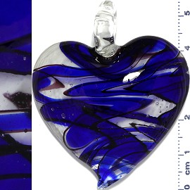 Glass Pendant Heart Clear Blue PD1134