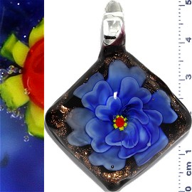 Glass Pendant Flower Square Black Gold Blue PD1139