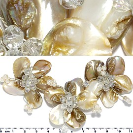 Shell Crystal Pendant Round Flower Cream White Tan Brown PD1145