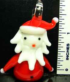 Red White Santa Claus Glass Pendant PD1160