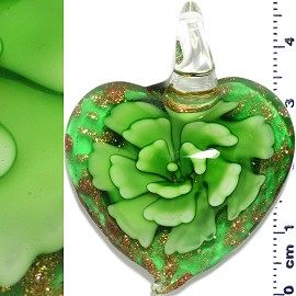 Glass Pendant Flower Heart Gold Green PD1196