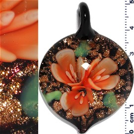 Glass Pendant Flower Circle Black Gold Orange PD1199
