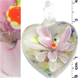 Glass Pendant Flower Heart Gold White Pink PD1211