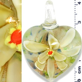 Glass Pendant Flower Heart Gold White Yellow PD1212
