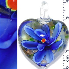 Glass Pendant Flower Heart Gold White Blue PD1215