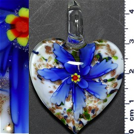 Glass Pendant Flower Heart Gold White Blue PD1217