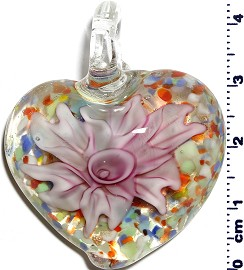 Glass Pendant Flower Heart Clear Pink PD1241