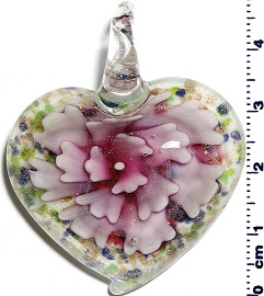 Glass Pendant Flower Heart White Pink PD1242