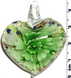Glass Pendant Flower Heart White Green PD1243
