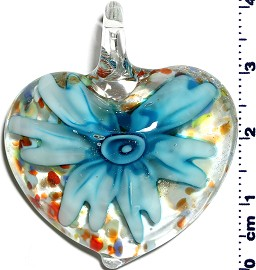 Glass Pendant Flower Heart Clear Turquoise PD1245