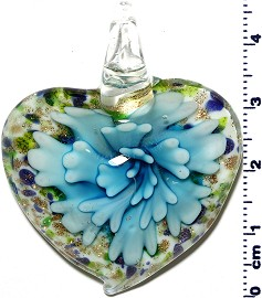 Glass Pendant Flower Heart White Turquoise PD1246