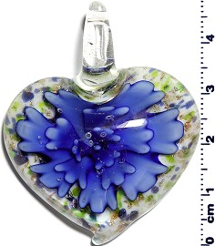Glass Pendant Flower Heart White Blue PD1249