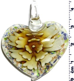 Glass Pendant Flower Heart White Dark Yellow PD1252