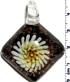 Glass Pendant Flower Square Black Yellow PD1257