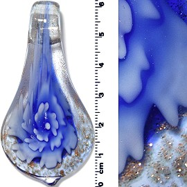 Glass Pendant Flower Spoon Blue PD1356