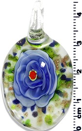 Glass Oval Flower Pendant Royal Blue Green PD1372