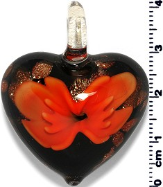 Glass Heart Pendant Orange PD1376