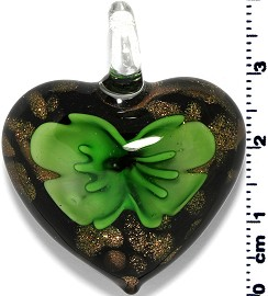 Glass Heart Pendant Green PD1377
