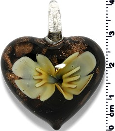 Glass Heart Pendant Yellow PD1379