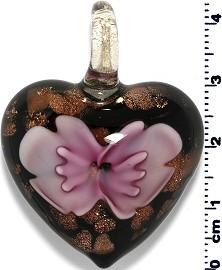 Glass Heart Pendant Pink PD1380
