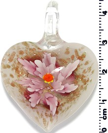 Glass Heart Pendant Final Sale Pink PD1383