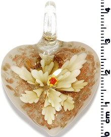 Glass Heart Pendant Yellow PD1384