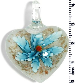 Glass Heart Pendant Sky Blue PD1385