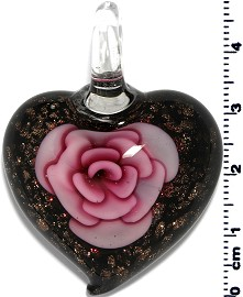 Glass Heart Pendant Pink PD1391