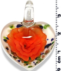 Glass Heart Pendant Orange PD1393