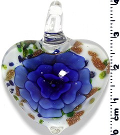 Glass Heart Pendant Royal Blue PD1395
