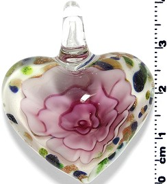 Glass Heart Pendant Pink PD1396