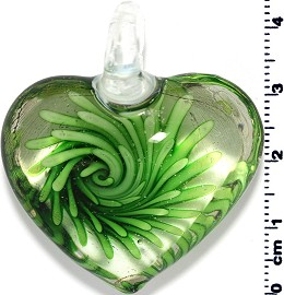 Glass Heart Pendant Green PD1399