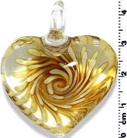 Glass Heart Pendant Yellow PD1402
