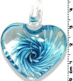 Glass Heart Pendant Final Sale Sky Blue PD1404