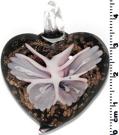 Glass Heart Pendant Pink PD1407