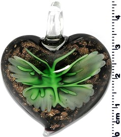 Glass Heart Pendant Green PD1409
